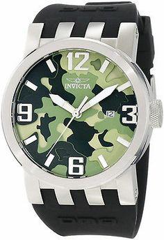 @Jacob Renquist Pillai Invicta Men's 10453 DNA Green Camouflage Dial Black Silicone Watch