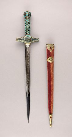 Composite Dagger, Grip (formally a mirror handle): Turkish, 16th century Crossguard: Turkish, 19th century Blade: European, probablly Spanish, late 16th-early 17th century
