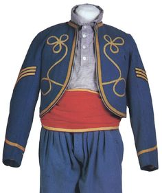 Uniform of a 146th NYSV soldier on display at the Gettysburg National Military Park Visitor's Center.
