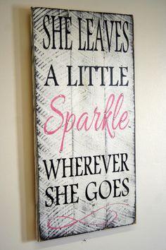 She Leaves A Little Sparkle Wherever She Goes Pallet Sign Shabby Chic Nursery Decor Girls Room Sign Baby Shower Gift Teenager Gift on Etsy, $50.00