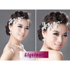 White Rhinestone Butterfly Bohemian Wedding Bridal Headpieces Jewelry SKU-10806255