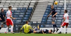 Queen's Park's Ross Millen clears off the line during the SPFL League One game between Queen's Park and Raith Rovers.