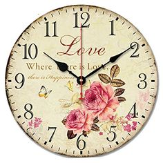 Romantic Sweet Roses Clock, Schmuckbox Rustic Floral Style Wall ClockLove Rose Butterfly Wooden Art Decor Non-Ticking Bedroom Study Desk Home Decoration(Love ** Special product just for you. : home diy wall