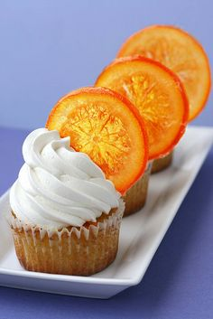 Orange Cupcakes with Candied Orange Garnish