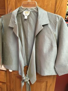 TALBOTS Petites Womans Blouse 14 Pure Silk Shirt jacket Silver Metallic Wrap Tie #Talbots #Wrap #Casual