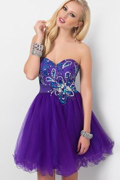 Stunning Beaded Purple Strapless A-line Tulle Homecoming Dress JSBP0004