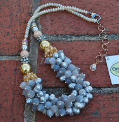 Agate and Rhinestone Pearl Cluster Necklace on-a-string.com