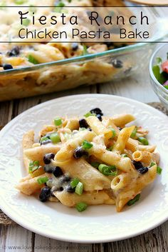 Fiesta Ranch Chicken Pasta Bake - an easy and delicious weeknight meal! A packet of Hidden Valley Fiesta Ranch Dips Mix makes this super fla...