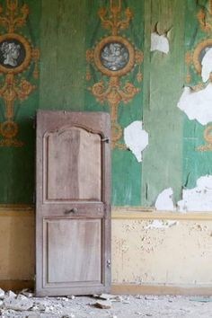 Exquisite green wallpaper -- made with arsenic in the 1700s. An Australian family is renovating this abandoned French chateau in the Pyrenees.