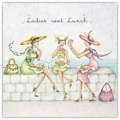 illustration ladies who lunch Happy Birthday Friend, Marjolein Bastin, Ladies Who Lunch, Girlfriend Humor, Crazy Friends, Needlepoint Designs, New Girl, Art Google, Note Cards