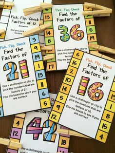 Factors Pick, Flip and Check cards by Games 4 Learning - The fun way to review factors. Just pick the factors with a clothespin, then flip and check!  $