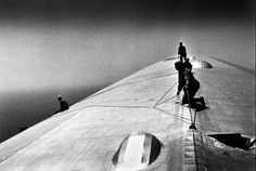 Repairing the Hull of the Graf Zeppelin during the flight over the Atlantic, 1934