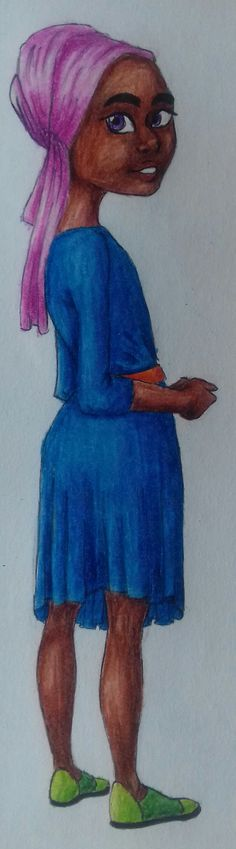 Tiny babs Helia was fun as hell to draw! I did it with black pen and colored pencils, photo taken with my phone's cam.