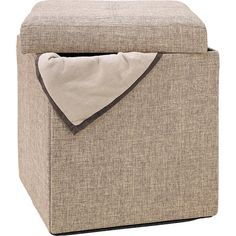 Carson Folding Storage Ottoman in Natural