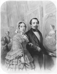 "Emile Lassalle ""Queen Victoria and Napoleon III Emperor of France, visiting the art gallery of the Universel Exhibit"""
