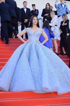Aishwarya Rai Bachchan looks like Cinderella at Cannes Film Festival 2017 in an Ice Blue with Embroidered Lace on Gown by Michael Cinco.
