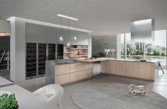 Recycled paper composite materials used to shape the trendy kitchen