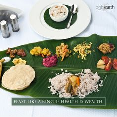 Enjoy a delicious Kerala Sadya at Chittoor Kottaram, a palace-turned-holiday home. This elaborate vegetarian festive fare on a banana leaf was a favorite of the Rajahs of Travancore. http://www.cghearth.com/chittoor-kottaram