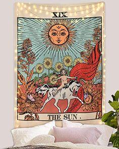 Psychédélique Tapisserie et Couverture de jour Mystic Lune Soleil Pression
