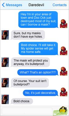 How is Daredevil texting?