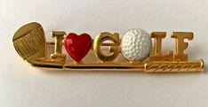 """Signed REN """"I Love Golf"""" Gold Putter Golf Ball Heart Brooch Pin Costume Jewelry  #REN"""