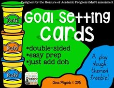 Testing season is right around the corner! Time to make some goals and get out the play doh!These cards are for setting goals for the Measure of Academic Progress assessments or MAPS tests that are given three times a year. Simply print the play doh side back to back with the name of the test that you are taking, add the students goal in the circle on the back, and then you have space to record the two parts of the test.