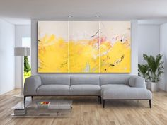 "Sold: LIGHT | 60""x108""x1.5"" triptych by Los Angeles based contemporary artist Laura Letchinger. #graffitioncanvas #street #graffiti #urban #abstract #contemporaryabstract #oversized #interiordesign #design #industrial #wallart #painting #contemporaryart #large #art #contemporary #oversize #gritty #loft #modern #yellow #bright #contemporaryart #oversizedart Website: http://www.lauraletchingerart.com/available-work-gallery"