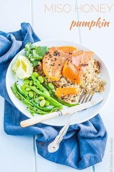 Miso Honey Pumpkin - butternut pumpkin glazed with miso, honey and sesame on a bed of quinoa. A deliciously healthy vegetarian meal. | DeliciousEveryday.com