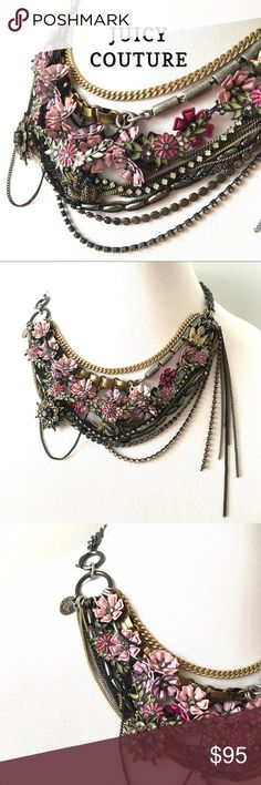 """Juicy Couture Floral/Bird Statement Necklace Wow! Lovely elements in pinks, lavender, greens and blue. Different metal tones. Sweet gold bird accent  with green crystal eyes and blue crystal floral charm. Wear it centered or off to the side. Gold and chunky marcasite chains are abt 18""""; chains drop abt 6-7"""". Comes with light pink storage bag. No tag, new condition. Gorgeous! Juicy Couture Jewelry Necklaces"""
