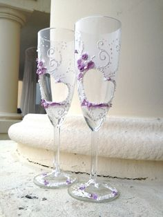 Wedding Champagne Glasses heart-shape decoration by PureBeautyArt