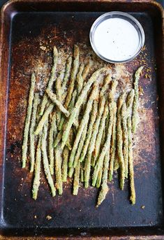 Baked Asparagus Fries Recipe with Creamy Lemon Sauce
