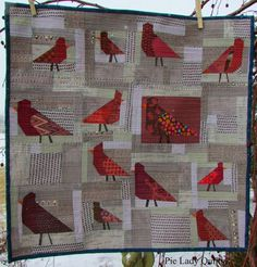 Pie Lady Quilts: Red Letter Day, improv piecing birds