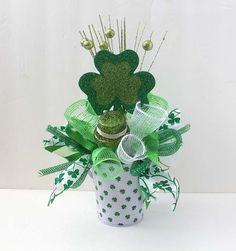 St Patricks Day arrangement, floral arrangement, green centerpiece, irish arrangement, st patrick's day, shamrocks, floral arrangements
