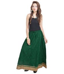 Buy Rajasthani Ethnic Green Cotton Short Skirt skirt online