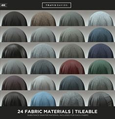 24 FABRIC MATERIALS - 4K - TILEABLE - SUBSTANCE PAINTER VERSION INCLUDED AS WELL, Travis Davids on ArtStation at https://www.artstation.com/artwork/kxo32