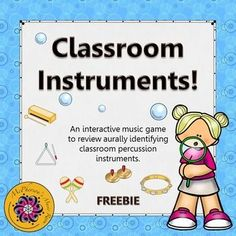 Classroom Percussion Instruments (Interactive Music Game) What a fun interactive way to reinforce recognizing non-pitched percussion instruments with your elementary music students! They will love watching the bubbles float across the page when they select the correct answer!