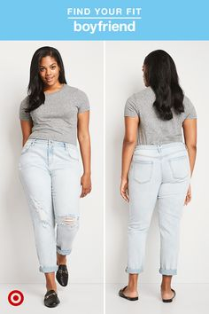 "Model is 5'11"" and wears size 14. A relaxed, slouchy fit makes boyfriend jeans the perfect pick for an outfit in need of a few cool-girl points. Distressed details help make legs look longer, while bleached washes make sure they never feel too serious. Wear them cuffed with sneakers or show off your favorite pair of slides or block heels for a dressier look."