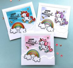 Hi there and Happy Saturday! I'm popping in today to share a trio of cards that I made using the Avery Elle stamp set, Be aUnicorn . ...