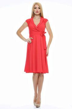 Rochie guler sal legata lateral. Dresses For Work, Fashion, Moda, Fashion Styles, Fashion Illustrations