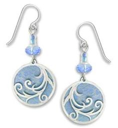 Amazon.com: Adajio by Sienna Sky Pale Blue Silver Tendrils Disc Earrings 7398: Jewelry