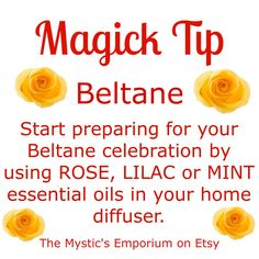 Beltane - Magick Tip - Click through to visit The Mystics Emporium on Etsy Green Witchcraft, Wicca Witchcraft, Mabon, Samhain, Witch Board, Eclectic Witch, Vernal Equinox, Crystal Magic, Sabbats