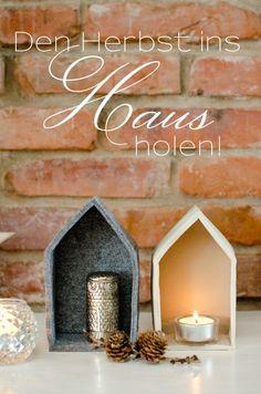 DIY Deko Haus aus Filz und Ton für Kerzen als dekorative Idee für den Herbst und Winter oder als Weihnachtskrippe