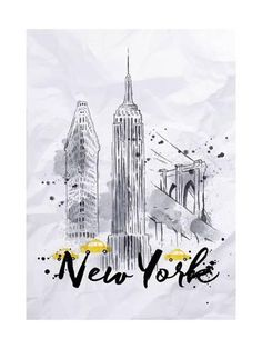 Watercolor New York skyscrapers, Empire State Building, Brooklyn Bridge in vintage style drawing with drops and splashes on crumpled paper Nyc Drawing, New York Drawing, Building Drawing, Building Art, New York Cityscape, New York Tattoo, New York Painting, New York Buildings, Watercolor Kit
