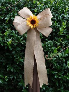 10 Shabby Chic Natural Burlap Yellow Sunflower Pew Bows Wedding Decorations…