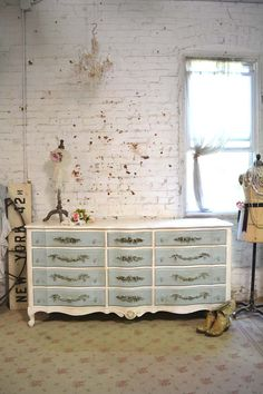 Painted Cottage Chic Shabby French Dresser [dr811] - $595.00 : The Painted Cottage, Vintage Painted Furniture