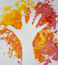 Autumn hand print art.