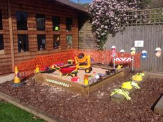 Construction site at NOTG Eyfs Outdoor Area, Outdoor Play Spaces, Outdoor Areas, Construction Area Eyfs, Construction For Kids, Outdoor School, Outdoor Classroom, Backyard Play, Backyard For Kids