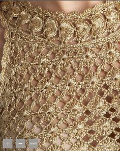 Платье золотое   Вязание крючком   схемы: Вязание крючком и спицами