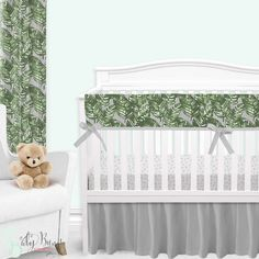 Palm leaf baby bedding, with a twist. This grey and emerald green baby bedding set is simple yet sophisticated. We adore the watercolor brushstroke palm leaf print with a grey background. This look has us feeling like we're in a tropical rainforest nursery. Custom Baby Bedding, Baby Girl Crib Bedding, Baby Bedding Sets, Baby Cribs, Crib Rail Cover, Thing 1, Gender Neutral, 3 Weeks, Girl Names