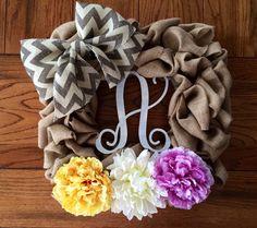 https://www.etsy.com/listing/199229641/square-burlap-wreath-with-chevron-bow Square burlap wreath with chevron bow monogram personalize grey white